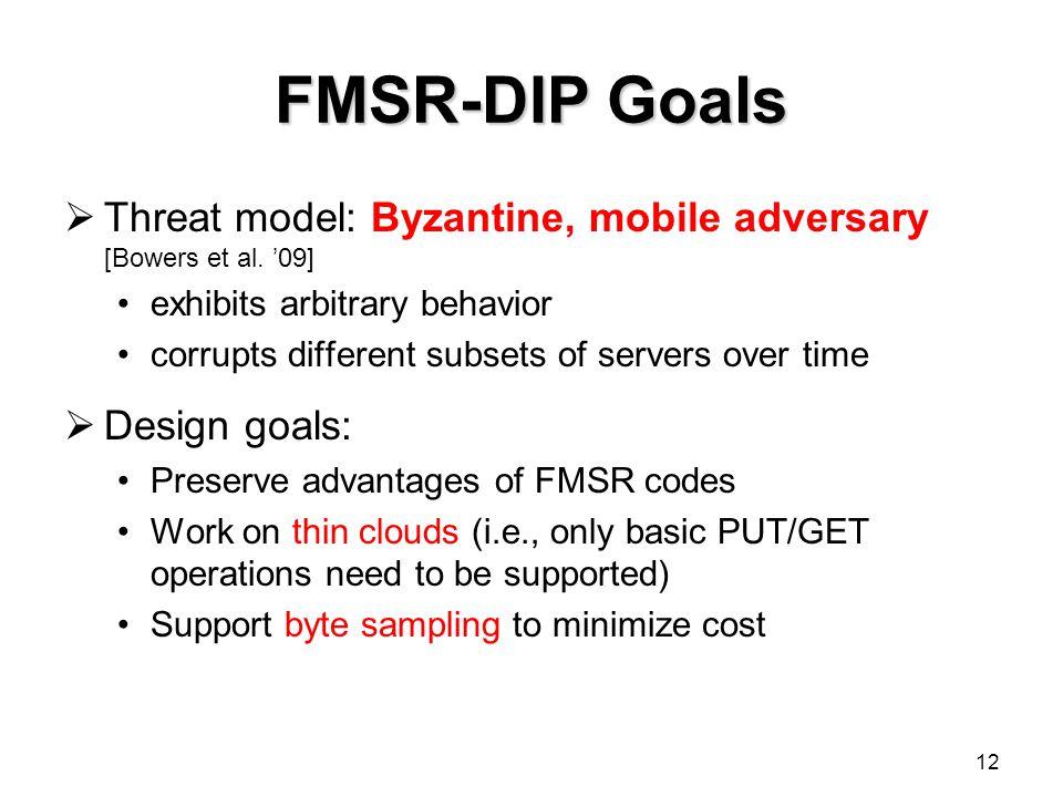FMSR-DIP Goals Threat model: Byzantine, mobile adversary [Bowers et al. '09] exhibits arbitrary behavior.